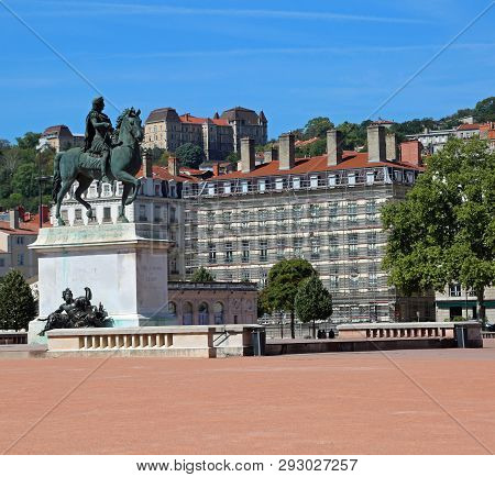 The Main Square In Lyon City In France Called Place Bellecour Is The Most Wide Square In Europe And