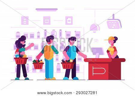 Cashier At Cash Desk In Supermarket Vector