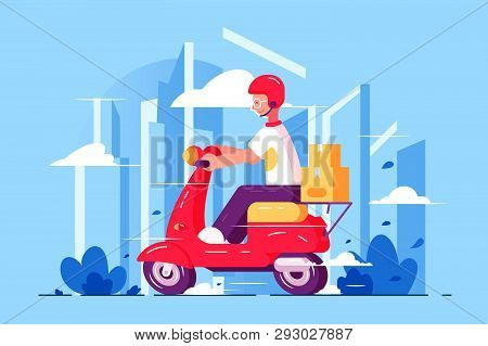Man Courier Driving On Scooter Vector Illustration