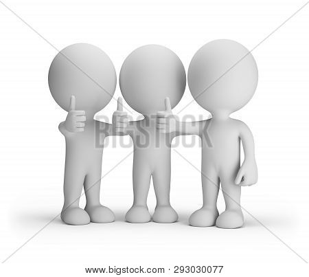Three Friends With A Raised Finger Up Everyone Is Happy. 3d Image. White Background.