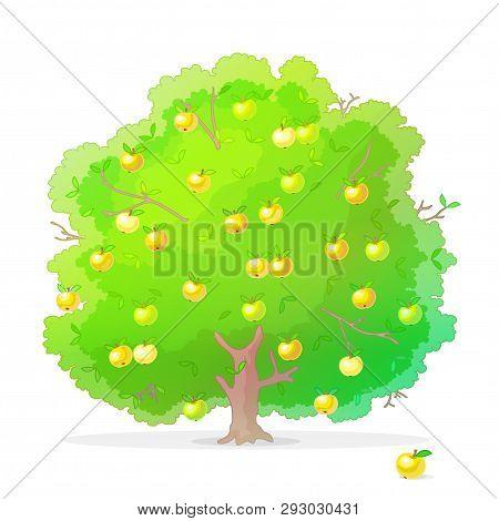 Vector Cartoon Plants Nature Clip Art. Apple Tree