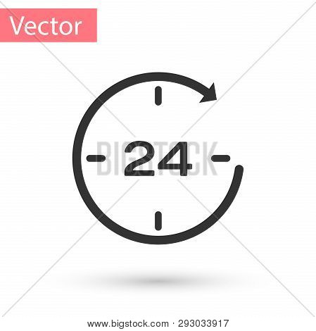 Grey Clock 24 hours icon isolated on white background. All day cyclic icon. 24 hours service symbol. Vector Illustration poster