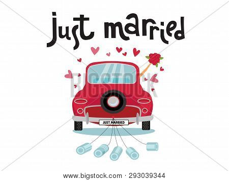 Newlywed Couple Is Driving A Vintage Convertible Car For Their Honeymoon With Just Married Sign And