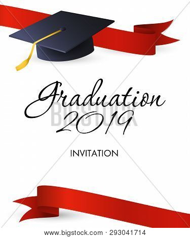 Graduation 2019 Invitation Design. Mortarboards With Gold Tassel And Red Ribbons. Illustration Can B