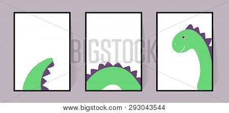 Three Posters With A Cute Green Dinosaur. Vector Cool Dino. Set For Walls, Cards, Invitations. Scand