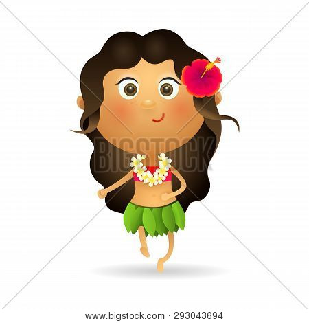 Smiling Hawaiian Girl Dancing. Hawaiian Woman In Leaves Skirt And Flower Lei. Can Be Used For Topics