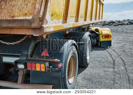 Truck at a road construction site