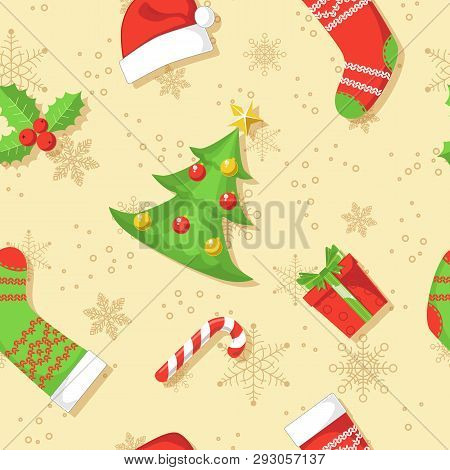 Christmas Seamless Pattern. Xmas And Winter Holidays Icons On The Ecru Background.