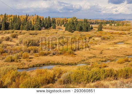 A Scenic Autumn Landscape Int He Wyoming Tetons