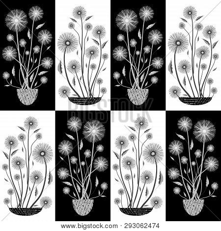 Elegant Hand Drawn White And Black Flowers In Half Drop Design. Seamless Vector Pattern On Tiled Bac