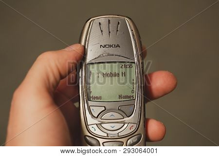 BUDAPEST, HUNGARY - JUNE 09, 2015: Nokia 6310i cellphone in used condition. The 6310i was a very popular corporate phone after it's introduction in 2002