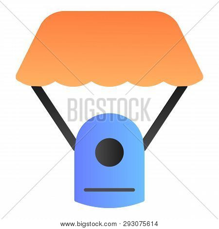 Capsule Parachute Flat Icon. Space Parachute Color Icons In Trendy Flat Style. Astrophysics Gradient