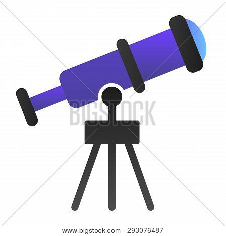Telescope Flat Icon. Spyglass Color Icons In Trendy Flat Style. Ocular Gradient Style Design, Design