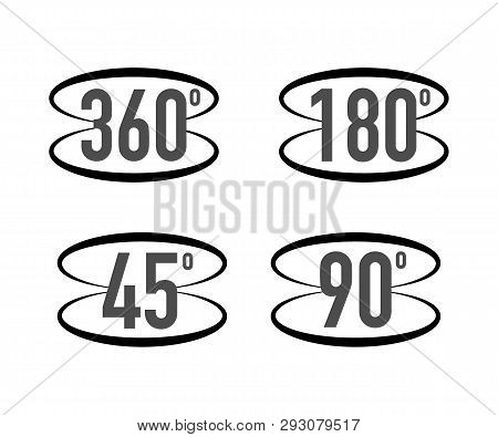 360 Degrees View Sign Icon. Signs With Arrows To Indicate The Rotation Or Panoramas To 360 Degrees.