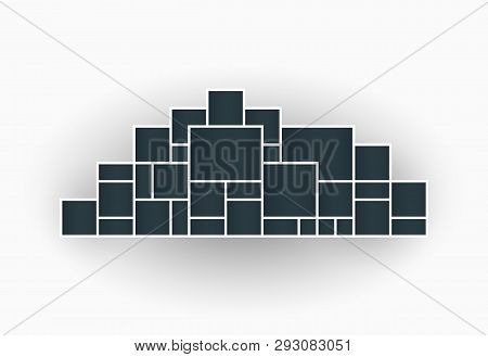 Vector Illustration Of Photo Collage Frames For Presentations, Photo Montage In The Shape Of A City.