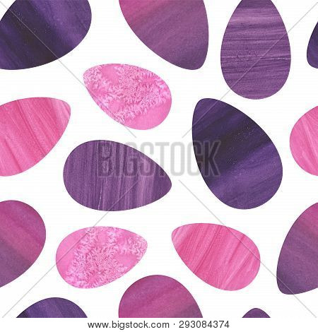 Seamless pink, purple painted eggs easter pattern with watercolor and pastel texture. Stones ornament for fabric textile, wrapping paper, fashion clothes and apparel, decorative print. poster