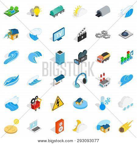Vigor Icons Set. Isometric Style Of 36 Vigor Icons For Web Isolated On White Background
