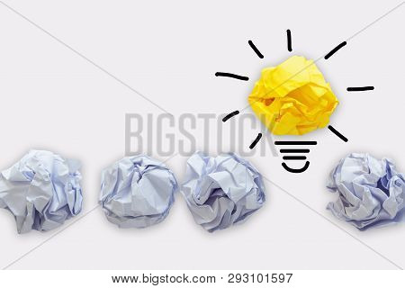 Creative Idea Of Power Thinking Concept, Paper Lightbulb Design With Graphic Drawing Stroke Line. Br