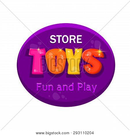 Kids Toys Vector Cartoon Logo. Colorful Bubble Letters For Childrens Playroom Decoration. Inscriptio