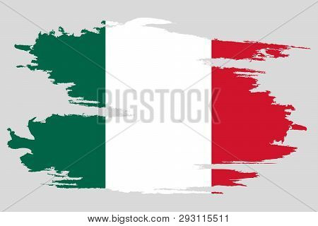 Mexico Flag. Brush Painted Mexico Flag Hand Drawn Style Illustration With A Grunge Effect And Waterc