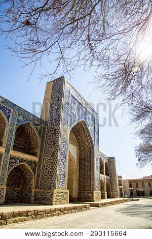 Bukhara, Uzbekistan - March 13, 2019: Nadir Divan-begi Madrasah. Part Of The Architectural Complex L
