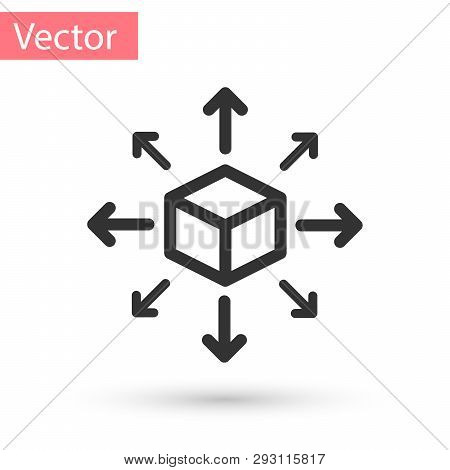Grey Distribution Icon Isolated On White Background. Content Distribution Concept. Vector Illustrati