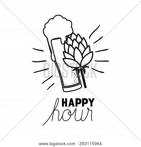 Beer With Foam And Pinecone Isolated Icon Vector Illustration Design