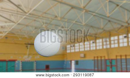 3D illustration of Handball snapshot with speed blur effect inside a gymnasium poster