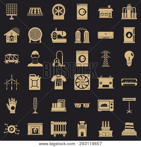 Electrical Engineering Icons Set. Simple Style Of 36 Electrical Engineering Vector Icons For Web For