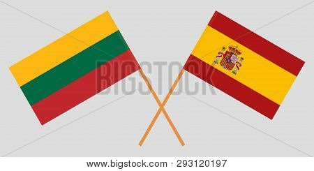 Lithuania And Spain. The Lithuanian And Spanish Flags. Official Colors. Correct Proportion. Vector I