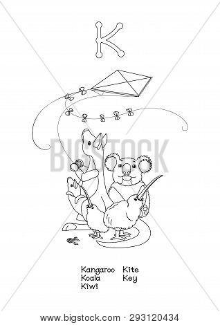 Vector Outline Animals English Alphabet For Letter K