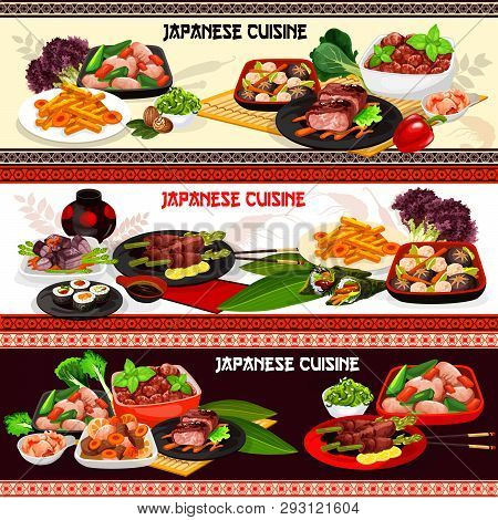 Japanese Meat Dishes Of Asian Cuisine. Sushi Rolls With Wasabi And Soy Sauce, Pork Stew And Fried Ch
