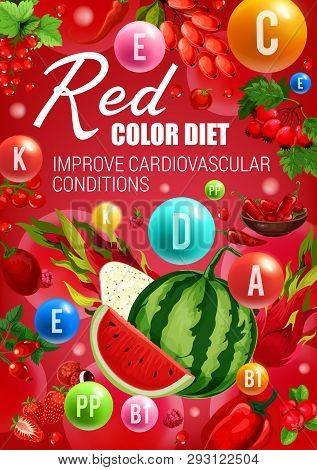 Red Color Diet Food, Healthy Heart Vitamins Sources. Vector Vegetables, Fruits And Berries Health Be