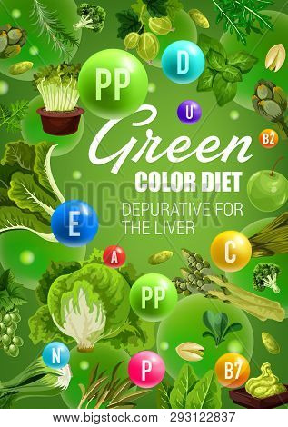 Detoxification Green Color Diet With Healthy Vegetables, Culinary Herbs, Fruits And Nuts. Apple, Spi