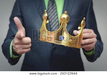 Award ceremony of the Winner. You win. Time to rule concept. Power of authority. Crown for new king. poster