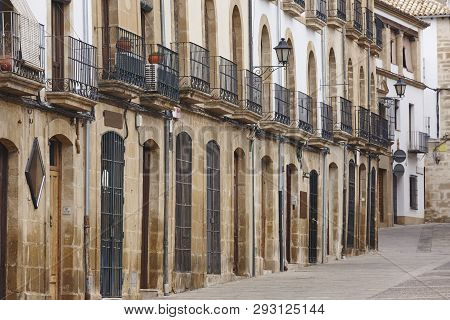 Traditional Street With Stone Facades In Andalucia. Ubeda, Spain