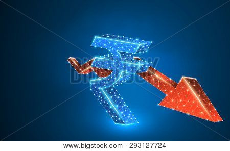 Downtrend Red Arrow, India Rupee Currency, Digital Neon 3d Illustration. Polygonal Vector Business C