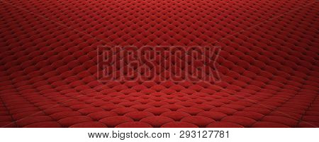 Quilted Fabric Surface. Red Velvet And Black Leather. Option 2