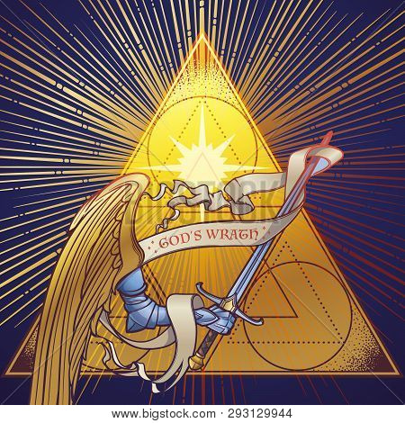 Archangel Michaels Arm In Armor Holding A Sword On A Golden Triangle With Light Beams Radiating Behi