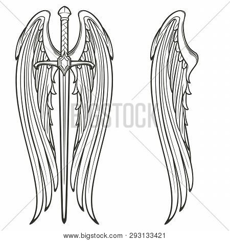Sword And Angel Wings. Retributiuon For Sins. Medieval Gothic Style Concept Art. Black And White Iso