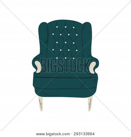 Retro Comfortable Armchair, Cushioned Furniture with Upholstery, Interior Design Element Vector Illustration poster
