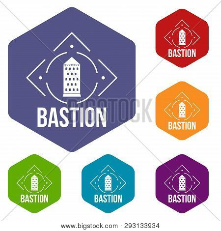Bastion Icons Vector Colorful Hexahedron Set Collection Isolated On White