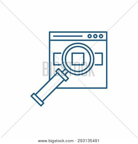Search For Products On The Site Line Icon Concept. Search For Products On The Site Flat  Vector Symb
