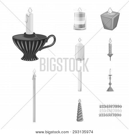 Isolated Object Of Paraffin And Fire  Symbol. Collection Of Paraffin And Decoration    Stock Symbol