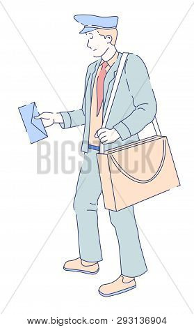 Mailman With Bag And Letter Post Officer Delivery