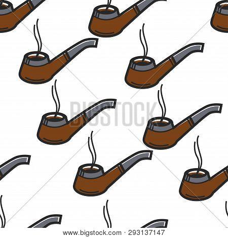Smoking Pipe Sherlock Holmes Item Seamless Pattern