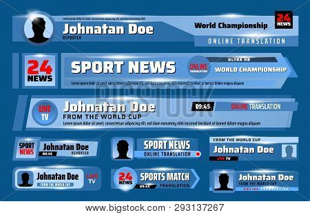 Tv News Bars And Lower Third Banners Vector Template Set. Breaking, Sport And Fake News, Live Stream