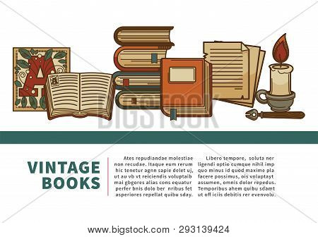 Vintage Books Manuscript And History Textbooks Volumes Pile