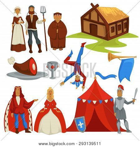Medieval Ages Peasants And Royalty History Isolated Characters