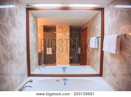 Hygienic Modern Luxury Bathroom Facility Design Background. Hotel Resort Accommodation Interior Arch